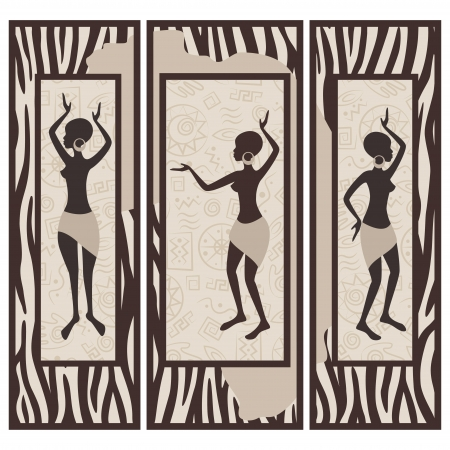 triptych: Vector picture of african american dancing woman on zebra skin background  Triptych