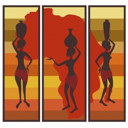 arte africano: Vector imagen de la mujer afro-americana en fondo rayado colorido tr�ptico