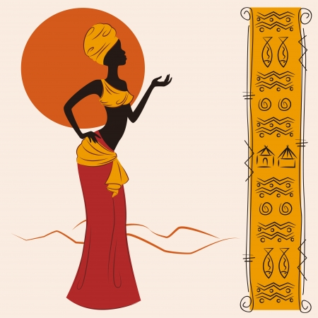 Beautiful African American woman and and ancient pattern. Hand drawing illustration. Vector