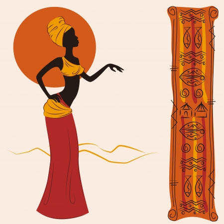 Beautiful African American woman and and ancient pattern. Hand drawing illustration.