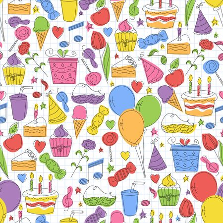 wrapper: Colorful birthday seamless pattern. Hand drawn sketch illustration