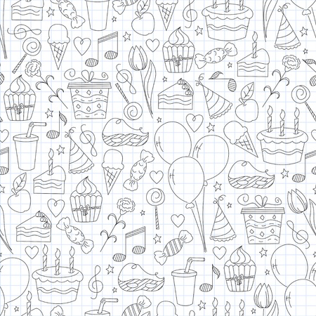Birthday seamless pattern. Hand drawn sketch illustration Vector