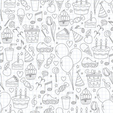 wrapper: Birthday seamless pattern. Hand drawn sketch illustration Illustration