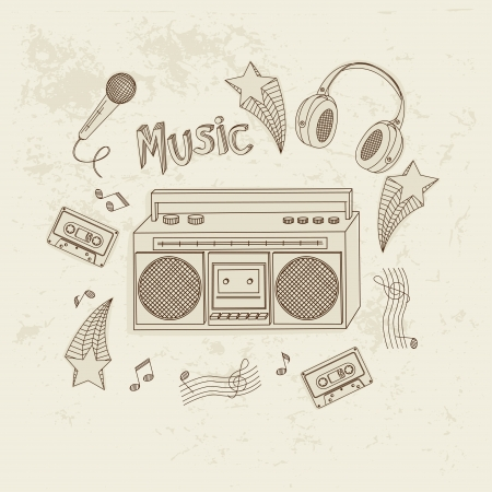 Retro music equipment. A collection of stylish images of old tape recorders and speakers. Hand drawn illustration. Vector