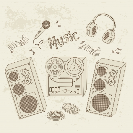 retro radio: Retro music equipment. A collection of stylish images of old tape recorders and speakers. Hand drawn illustration.