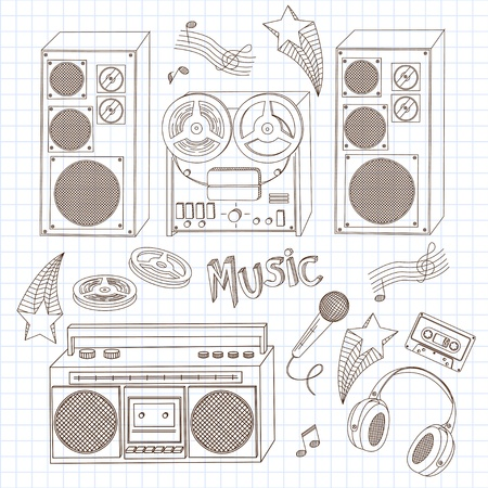 retro radio: Retro music equipment. A collection of stylish images of old tape recorders. Hand drawn illustration