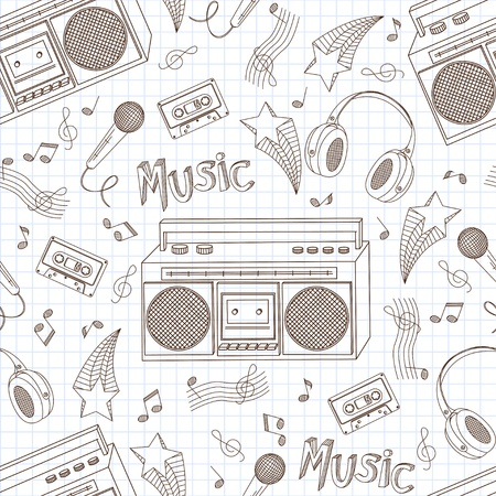 loudness: Seamless pattern of stylish images of old tape recorders, headphones and microphone Illustration
