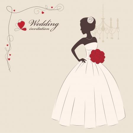 just married: Boda novia invitación hermosa que sostiene un ramo de flores ilustración vectorial