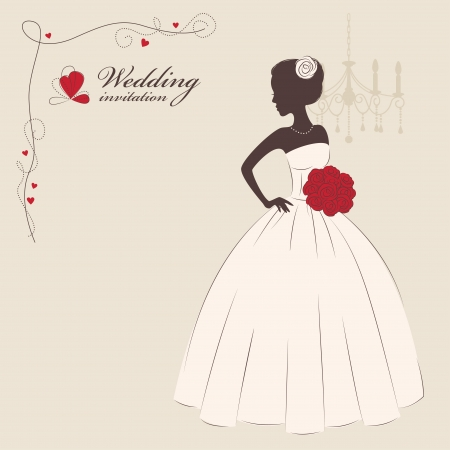 just married: Wedding invitation  Beautiful bride holding a bouquet  Vector illustration