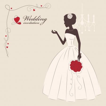 bride bouquet: Wedding invitation  Beautiful bride holding a bouquet  Vector illustration