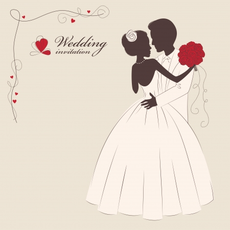 Wedding invitation   Romantic bride and groom   Vector