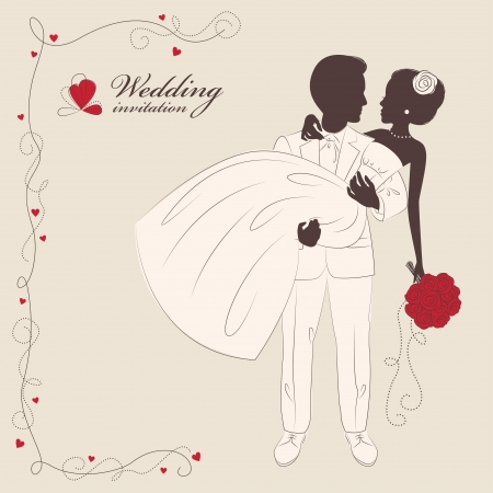 Wedding invitation   Romantic bride and groom   The groom carries bride in arms  Vector