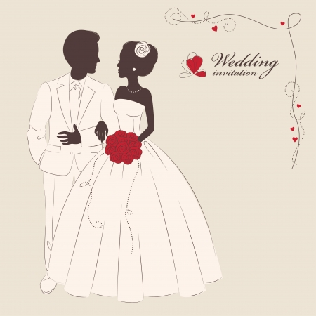 bride groom silhouette: Wedding invitation   Romantic bride and groom holding a hands