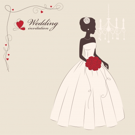 Wedding invitation  Beautiful bride holding a bouquet  Vector illustration Vector