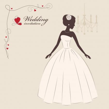 vintage dress: Wedding invitation  Beautiful bride   Vector illustration