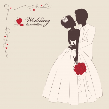 Wedding invitation  Wedding invitation   Romantic bride and groom   Vector