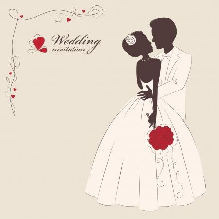 engagement silhouette: Wedding invitation  Wedding invitation   Romantic bride and groom