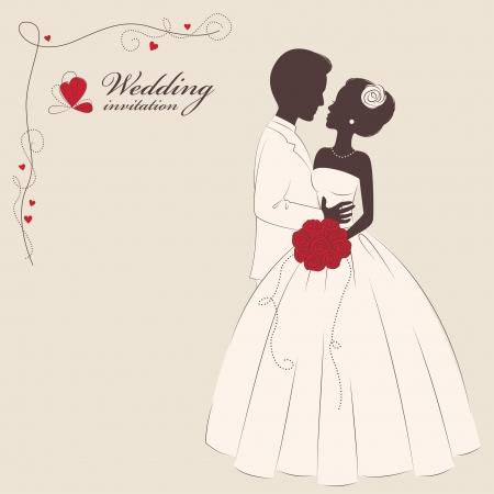 Wedding invitation   Romantic bride and groom   Vector illustration  Vector