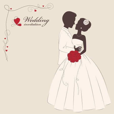 wedding couple silhouette: Wedding invitation   Romantic bride and groom   Vector illustration