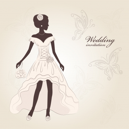 Wedding invitation. Beautiful bride  in an elegant wedding dress. Hand drawn illustration. Vector