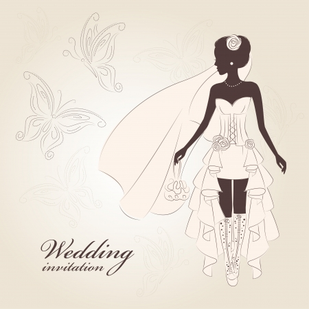 Wedding invitation.  Beautiful bride  in an elegant wedding dress and stylish boots. Hand drawn illustration. Vector