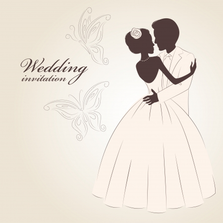 Wedding invitation . Romantic bride and groom dancing. Hand drawn Vector