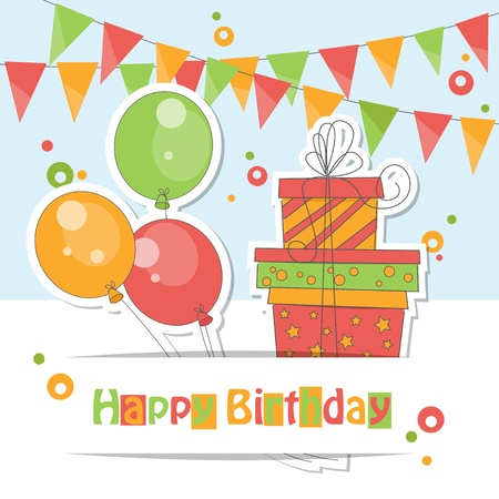 Happy Birthday card   Colorful illustration of balloons, gift and garland of flags  Stock Vector - 18935841
