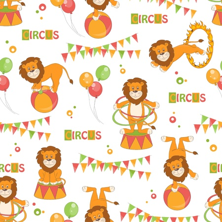 Baby seamless pattern of cute little lion  Vector