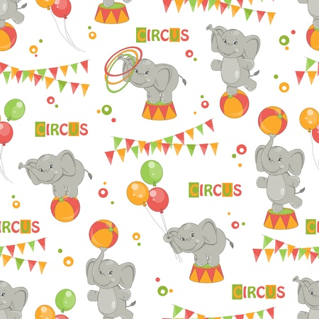 Baby seamless pattern of  cute little elephant   Colorful  Vector
