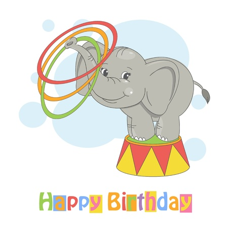 Happy Birthday  Colorful illustration of cute elephant playing with toy hoop  Vector
