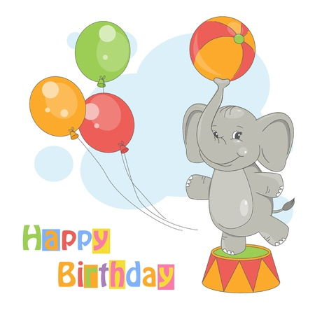 Happy Birthday  Colorful illustration of cute elephant with ball on white background Vector