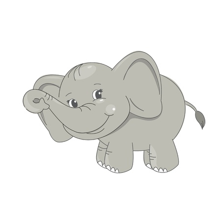Cute baby elephant smiling  Vector illustration on white background  Çizim