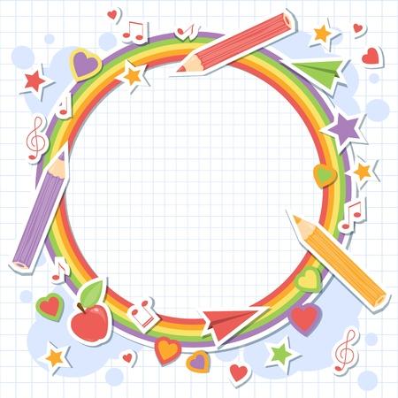niño escuela: Volver a la escuela elementos de colores sobre papel de cuaderno cuadrado