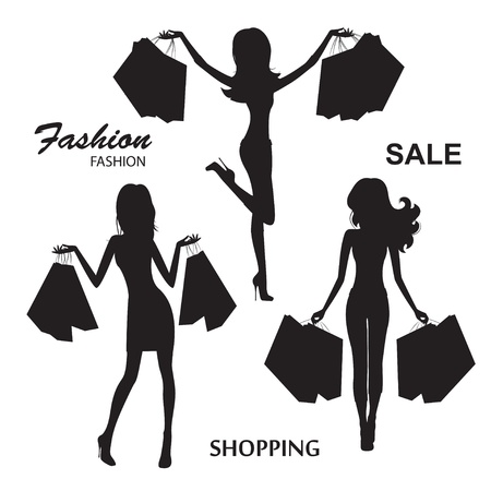 Shopping  Young fashionable woman  Silhouettes on white background   illustration