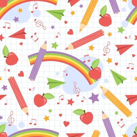 Back to school . Colorful childish seamless pattern. Vector