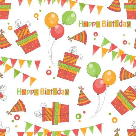 Colorful birthday seamless pattern. Vector