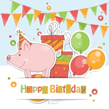 Carte de joyeux anniversaire! Illustration colorée de petit cochon drôle, ballons à air, de cadeaux et guirlandes de drapeaux.