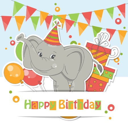 Happy Birthday card ! Colorful illustration of cute little elephant , air balloons, gift and garland of flags. 矢量图像
