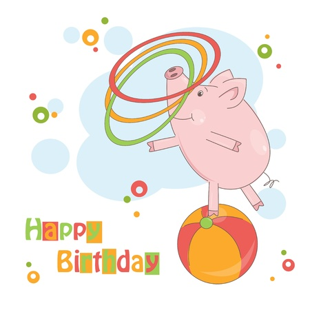 Happy Birthday! Colorful illustration of cute little pig playing with hula hoop. Vector