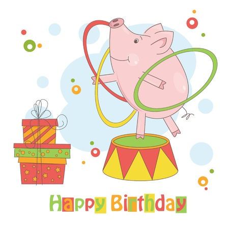hula: Happy Birthday! Colorful illustration of cute little pig playing with hula hoop.