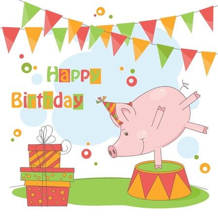 feliz cumplea�os caricatura: �Feliz cumplea�os! Ilustraci�n colorida de poco juego lindo del cerdo.