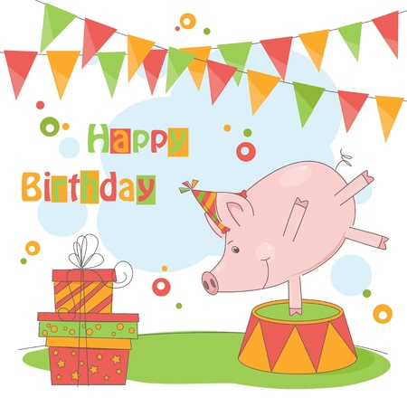 Happy Birthday! Colorful illustration of cute little pig playing .