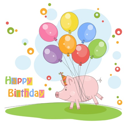 Happy Birthday card   Colorful illustration with cute pig flying on a balloons   Vector Vector