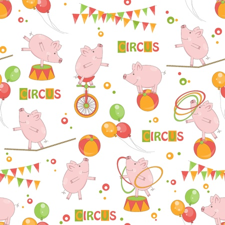 rope walker: Baby colorful seamless pattern   Little cute pig playing with ball and hula hoop, ride a bicycle, walk on rope  Illustration
