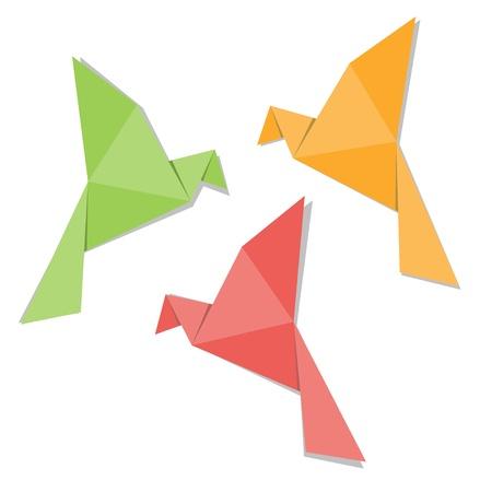 origami oiseau: Origami oiseau de papier isol� sur fond blanc Illustration
