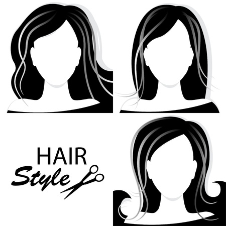 Design elements for barber shop   Collection of women hairstyle  Black and white  Hand drawing illustration  Vector