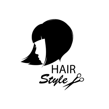 cute girl with long hair: Design elements for barber shop    Women hairstyle  Black and white  Hand drawing illustration