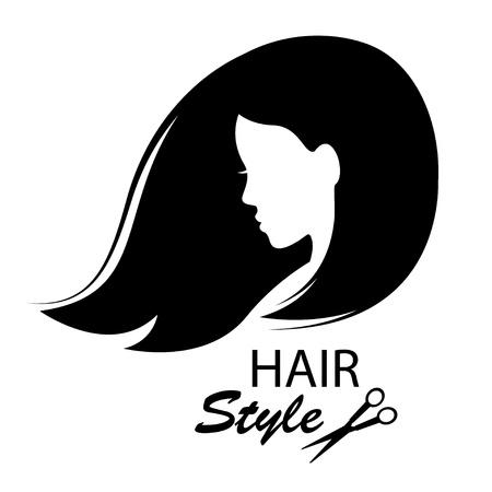 taglio capelli: Elementi di design per negozio di barbiere donne acconciatura bianco e nero di disegno a mano illustrazione Vettoriali
