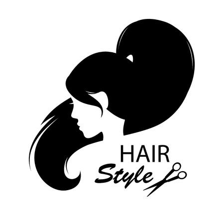Elementi di design per negozio di barbiere donne acconciatura bianco e nero di disegno a mano illustrazione Archivio Fotografico - 19455937
