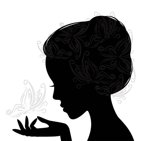 Profile woman silhouette with butterfly  Hand drawing illustration on white background  Vector